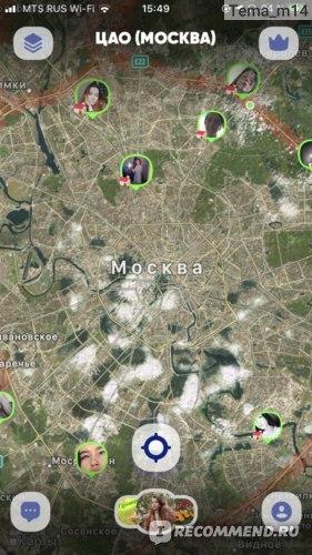 Карта Москыв в приложении ZenlyApp